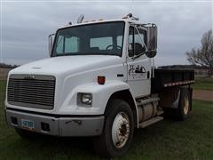 2001 Freightliner FL80 S/A Flatbed Truck W/Inverted Ball Hitch