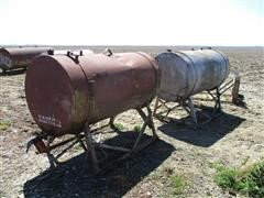 300-Gallon Steel Fuel Tanks On Stands & Extra Cradle