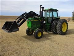 1990 John Deere 4755 2WD Tractor With 2010 Koyker 585 Loader