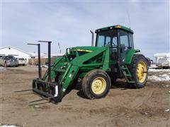 2001 John Deere 7410 2WD Tractor W/ JD 725 Loader/Bucket/Bale Fork