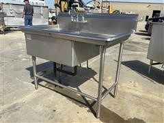 Commercial 2-Compartment Stainless Steel Sink W/ Faucet