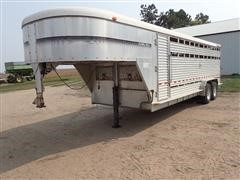 1991 Kiefer Built 7X22 Aluminum T/A Gooseneck Livestock Trailer