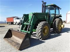 1989 John Deere 4455 MFWD Tractor W/Great Bend 770 Loader