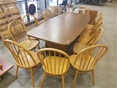 Conference Table, Wood Chairs & File Cabinet