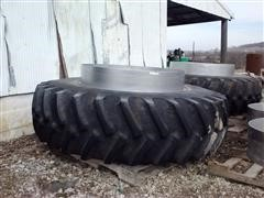 Firestone All Traction 23 Radial 18.4R X 38 Tractor Dual Tires, Rims And Spacers