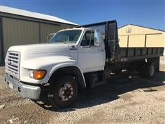 1998 Ford F700 S/A Flatbed Dump Truck