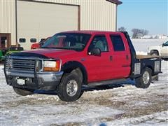 2001 Ford F250 Super Duty 4x4 Crew Cab Flatbed Pickup Truck