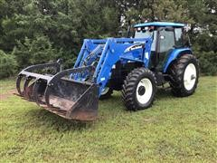 2005 New Holland TM140 MFWD Tractor W/62LB Loader & Grapple