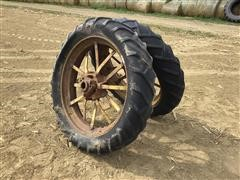 John Deere Model A Steel Spoked Rims & 10-38 Tires