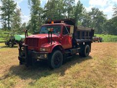 1998 International 4900 S/A Dump Truck W/Snow Plow & Salt Spreader