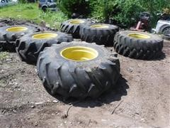 BF Goodrich & Firestone 23.1x26 Combine Tires On John Deere Rims