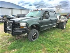 1999 Ford F350 4x4 Crew Cab Flatbed Pickup
