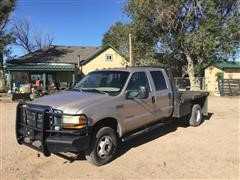 1999 Ford F350 Super Duty 4x4 Crew Cab Flatbed Dually Pickup