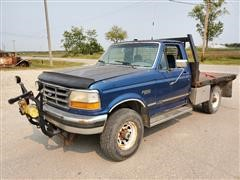 1995 Ford F250XLT 4x4 Regular Cab Flatbed Pickup W/Snowplow