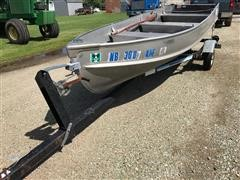 Alumacraft Fishing Boat On 2-Wheel Trailer
