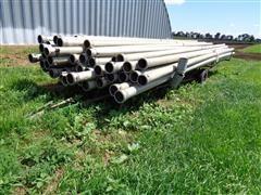 """Lindsay 6"""" X 30' Aluminum Main Line Pipe W/Pipe Trailer"""