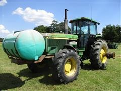 1990 John Deere 4955 MFWD Tractor W/Tank