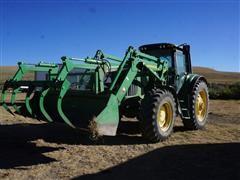 2004 John Deere 7320 MFWD Tractor W/741 Loader Bucket & Grapple