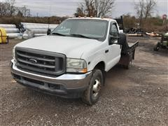 2002 Ford F350XL 4X4 Flatbed Dually Pickup