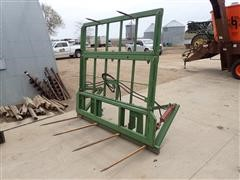 M D S Big Square Bale Fork W/Hydraulic Push Off