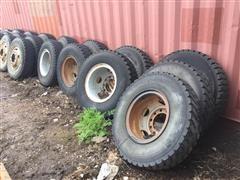 10.00R20 Tires Mounted On Steel Split Rims