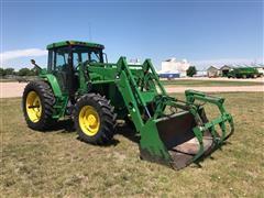 1997 John Deere 7410 MFWD Tractor w/ Loader/Bale Grapple