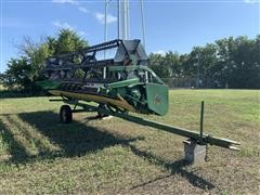 John Deere 220 Flex Grain Header w/ Pipe Frame Header Trailer
