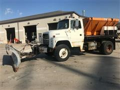 1991 Ford LN8000F S/A Flatbed Truck W/ Spreader & Snow Plow