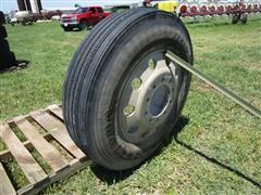 Firestone FS590 11R24.5 14-Ply Tire On Aluminum Hub Pilot Rim