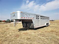 2014 Elite 7 X 24 T/A Gooseneck Aluminum Livestock Trailer