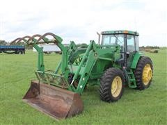 2001 John Deere 7410 MFWD Tractor W/Loader