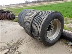 Bridgestone /Continental 445/50R22.5 Tires On Aluminum Wheels
