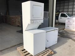 Kenworth Stackable Washer/Dryer & GE Freezer
