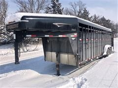 2012 Travalong 24' T/A Gooseneck Livestock Trailer