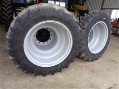 Michelin Radial Tubeless 380/85R34 Agri Bib Tractor Tires W/ Deep Dish Rims
