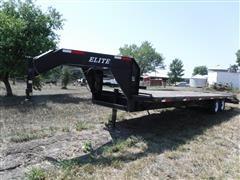 2005 Elite 25' T/A Flatbed Gooseneck Trailer W/Ramps