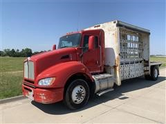 2013 Kenworth T440 S/A Plate Glass Service Truck Tractor W/Glass Rack Bed