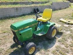 1982 John Deere 317 Lawn Tractor W/Mower, Tiller & Blade