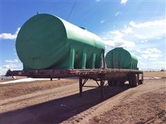 1993 East T/A Aluminum Flatbed Sprayer Tender Trailer w/ (2) 2500-Gallon Tanks