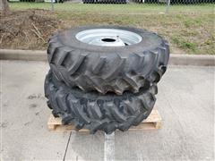 Titan 13.6R24 R-1 Radial All-Purpose Ag Lug Tires On Manual Adjust Steel Rims