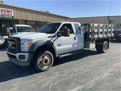 2011 Ford F450XL Super Duty 2WD Extended Cab Flatbed Truck W/Stake Sides