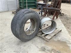 Samson GL286T 385/65R22.5 Tire W/Rims