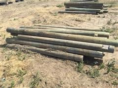 8'-9' Green Treated Wooden Fence Posts