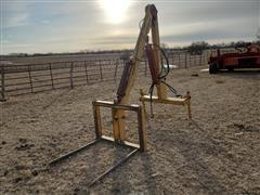 Ag Krane 3-Pt Hydraulic Tractor Crane W/Bale Forks