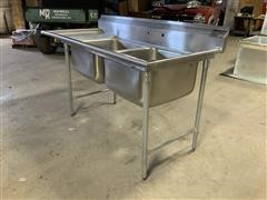 Eagle 414-24-2-18L Two Bowl Stainless Steel Commercial Sink