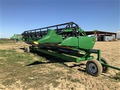2014 John Deere 635FD HydraFlex 35' Draper Header W/High Speed Trailer