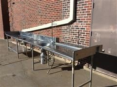 Nsf Stainless Steel Commercial Kitchen Prep & Work Table W/ Sink & Disposal