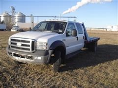 2007 Ford F550 Super Duty 4x4 Crew Cab Flatbed Pickup