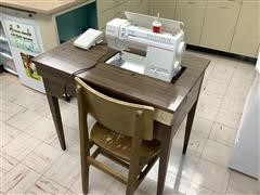 Singer 9210 Sewing Machine W/Table & Chair