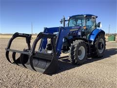 2013 New Holland T5.115 MFWD Tractor W/Loader Bucket & Grapple
